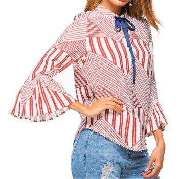New Autumn Winter Plaid Contrast Color Flare Sleeve Shirt - RED L