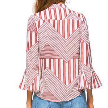 New Autumn Winter Plaid Contrast Color Flare Sleeve Shirt - RED M