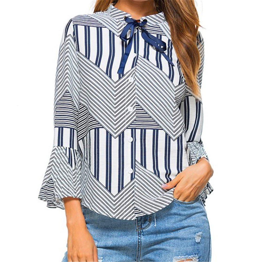 New Autumn Winter Plaid Contrast Color Flare Sleeve Shirt - BLUE M