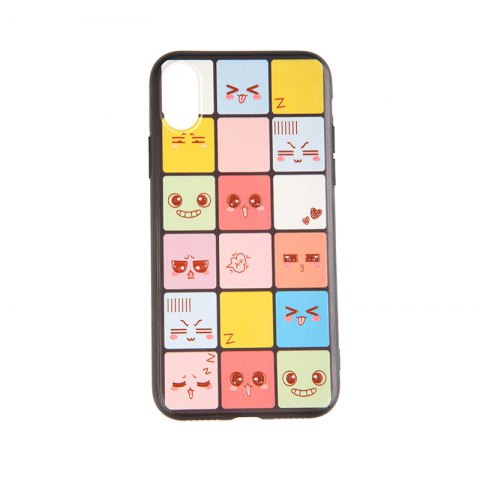 Tpu and Pc Cell Phone Cameo Gird Expression Case for iPhone X/ 7/ 8 / 7 Plus / 8 Plus - COLORMIX FOR IPHONE X