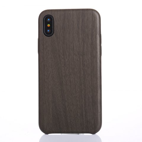 Nacy Wood Grain PU Leather Case for iPhone X - BLACK
