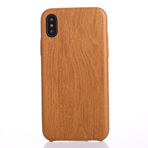Nacy Wood Grain PU Leather Case for iPhone X - DEEP BROWN