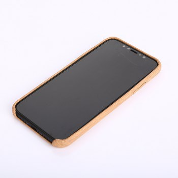 Nacy Wood Grain PU Leather Case for iPhone X - LIGHT BROWN