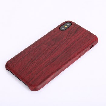 Nacy Wood Grain PU Leather Case for iPhone X - RED