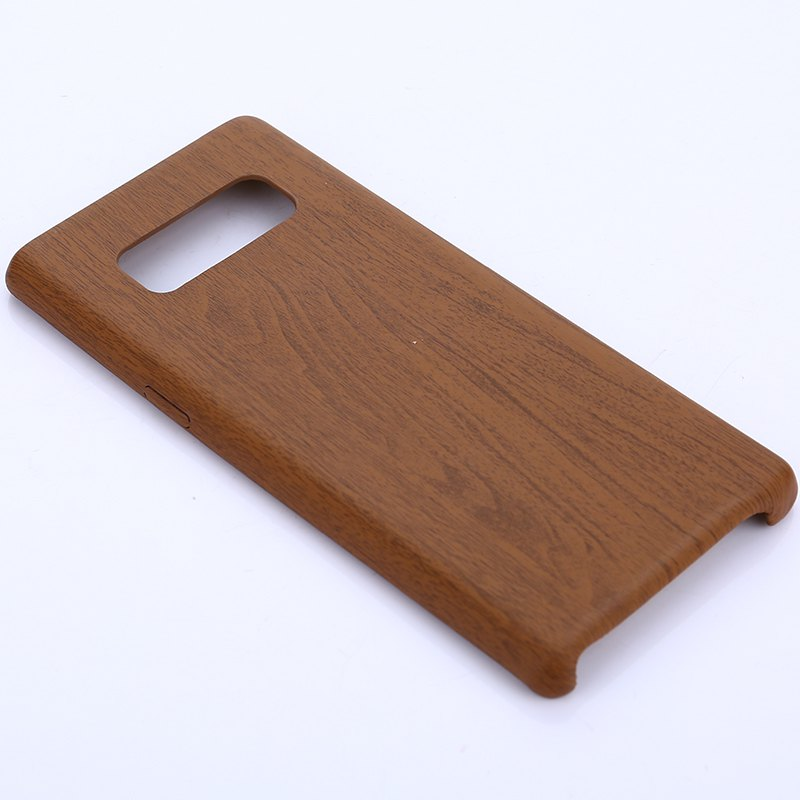 for Samsung Galaxy Note 8 Wood Grain PU Leather Case - DEEP BROWN