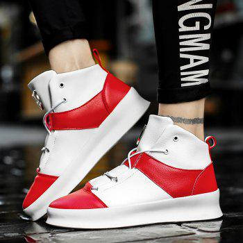 Men's Fashion Thick High Heel Sports Running Shoes - RED/WHITE RED/WHITE