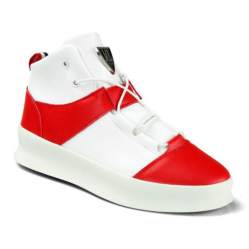 Men's Fashion Thick High Heel Sports Running Shoes - RED/WHITE 40