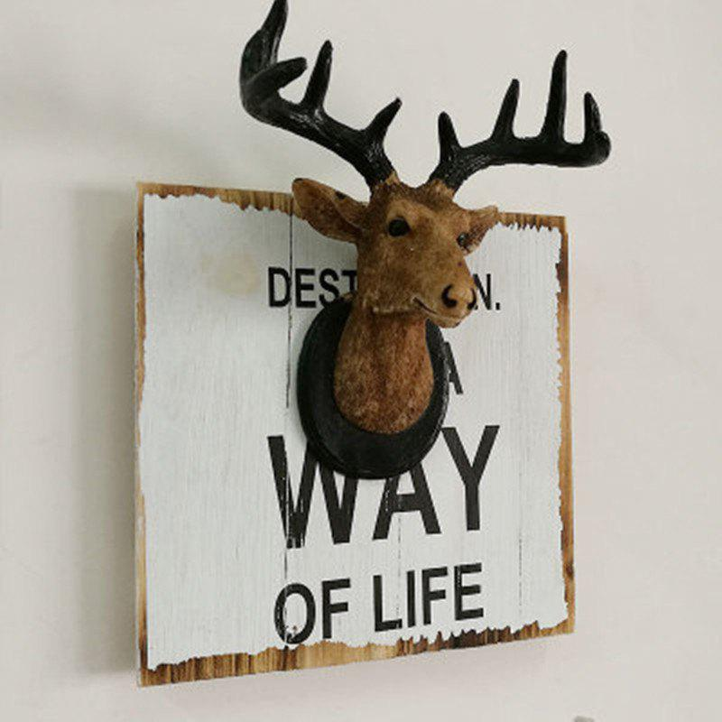 Wall Hanging Art Decoration Cartoon Deer Head Design - BROWN SIZE S