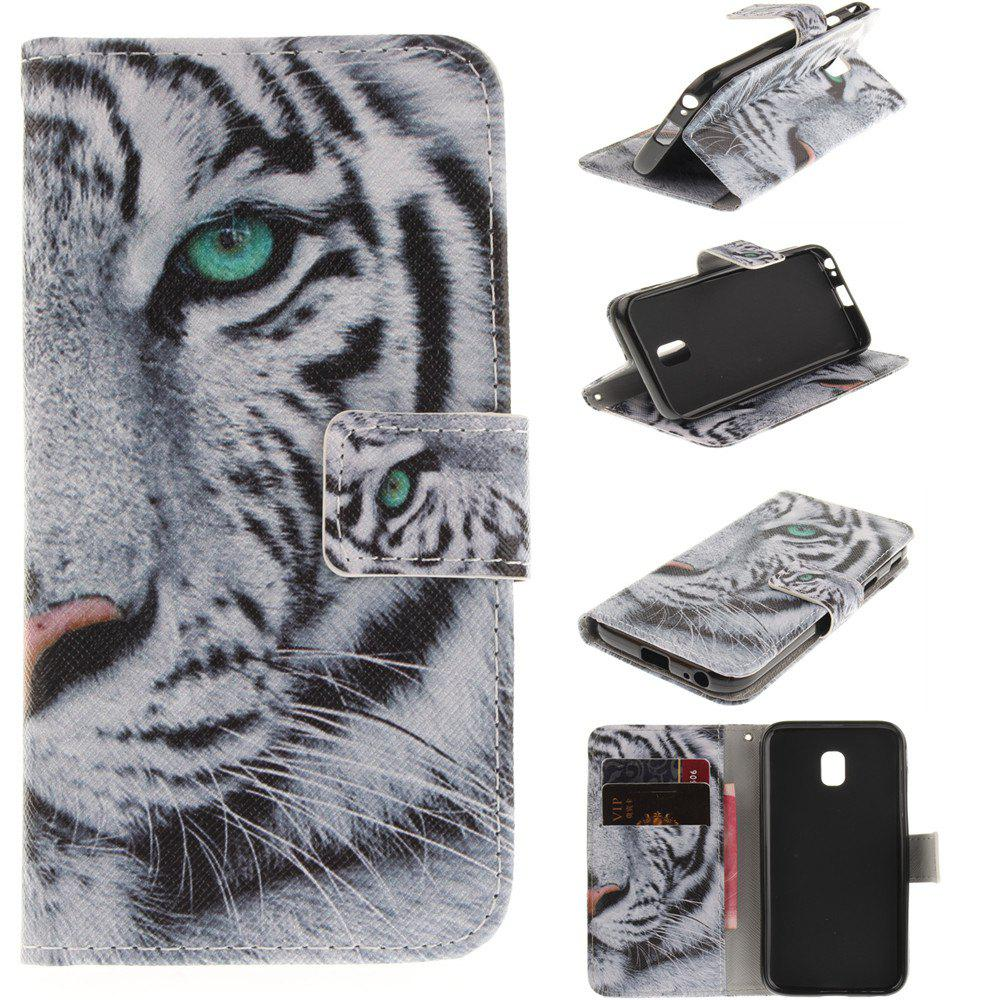 Tiger Pattern PU+TPU Leather Case Design with Stand and Card Slots Magnetic Closure for Samsung Galaxy J7 2017 J730 EU Version - COLORMIX