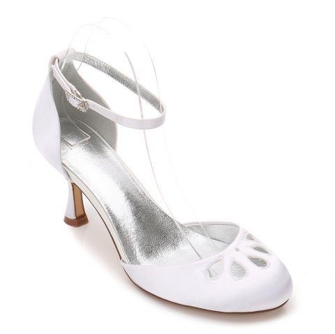 Women's Wedding Shoes Basic Pump Ankle Strap Comfort  Spring Summer Satin Wedding  Party - WHITE 41