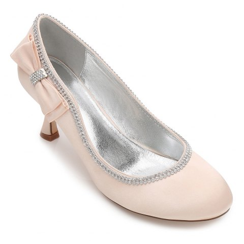 Womens Wedding Shoes Comfort  Basic Pump Ankle Strap Spring Summer Satin Wedding Dress Party Evening - CHAMPAGNE 39