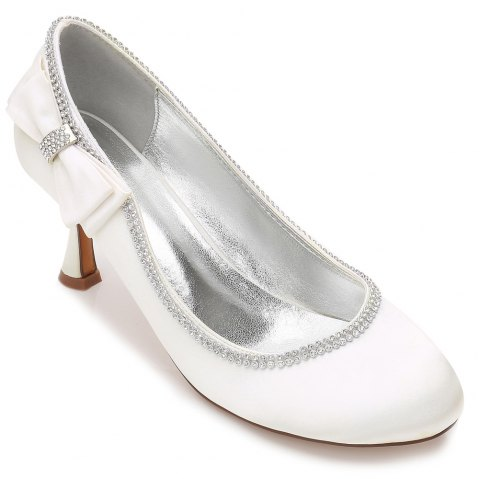 Womens Wedding Shoes Comfort  Basic Pump Ankle Strap Spring Summer Satin Wedding Dress Party Evening - IVORY COLOR 39
