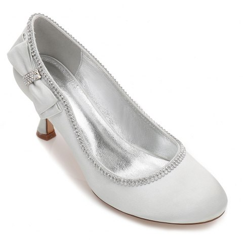 Womens Wedding Shoes Comfort  Basic Pump Ankle Strap Spring Summer Satin Wedding Dress Party Evening - SILVER 41