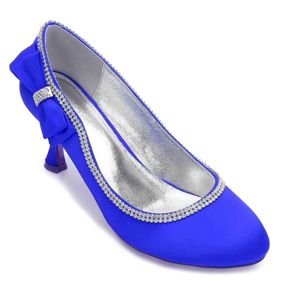 Womens Wedding Shoes Comfort  Basic Pump Ankle Strap Spring Summer Satin Wedding Dress Party Evening - BLUE 39