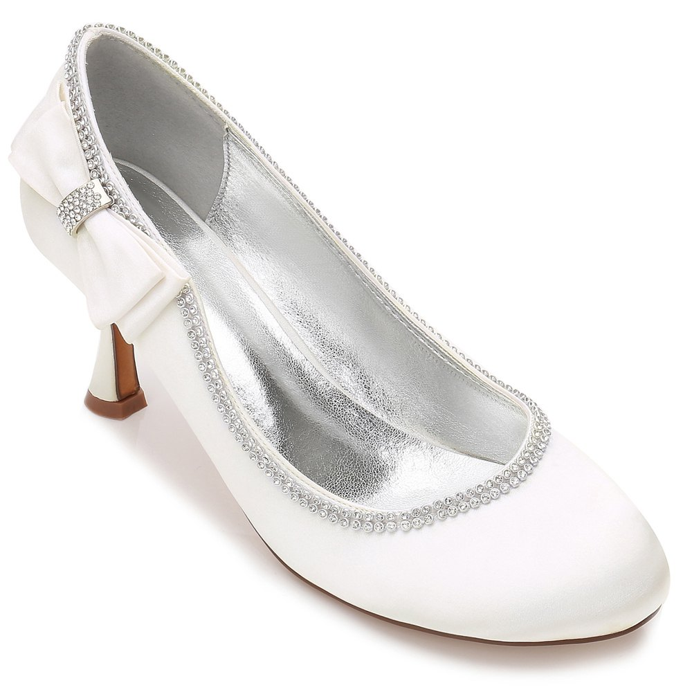 Womens Wedding Shoes Comfort  Basic Pump Ankle Strap Spring Summer Satin Wedding Dress Party Evening - IVORY COLOR 37