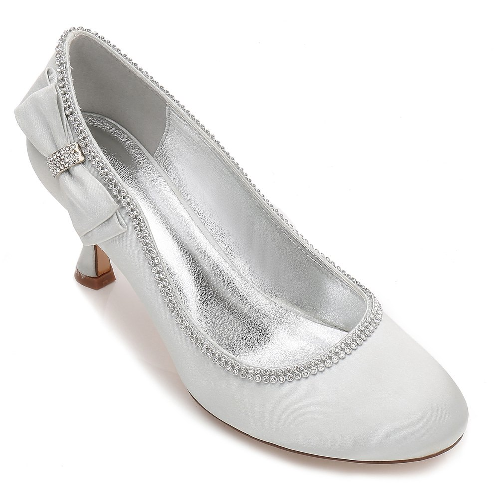 Womens Wedding Shoes Comfort  Basic Pump Ankle Strap Spring Summer Satin Wedding Dress Party Evening - SILVER 39