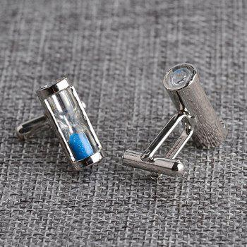 Men's Hourglass Crystal French Cuff Buttons Accessory -  BLUE