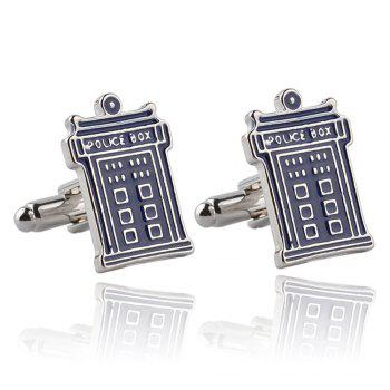 Men's Mysterious Doctor Phone Booth Creative Cufflink Accessory - BLUE BLUE