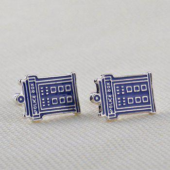Men's Mysterious Doctor Phone Booth Creative Cufflink Accessory -  BLUE