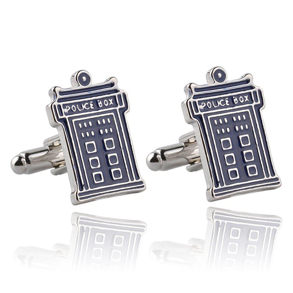 Men's Mysterious Doctor Phone Booth Creative Cufflink Accessory thumbnail