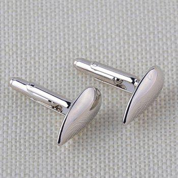 Men's Cufflinks Bright Water-drop Shape Solid Color Cuff Buttons Accessory - SILVER