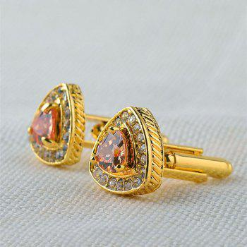 Men's Cufflinks Triangle Rhinestone Alloy All Match Cuff Buttons Accessory - GOLDEN
