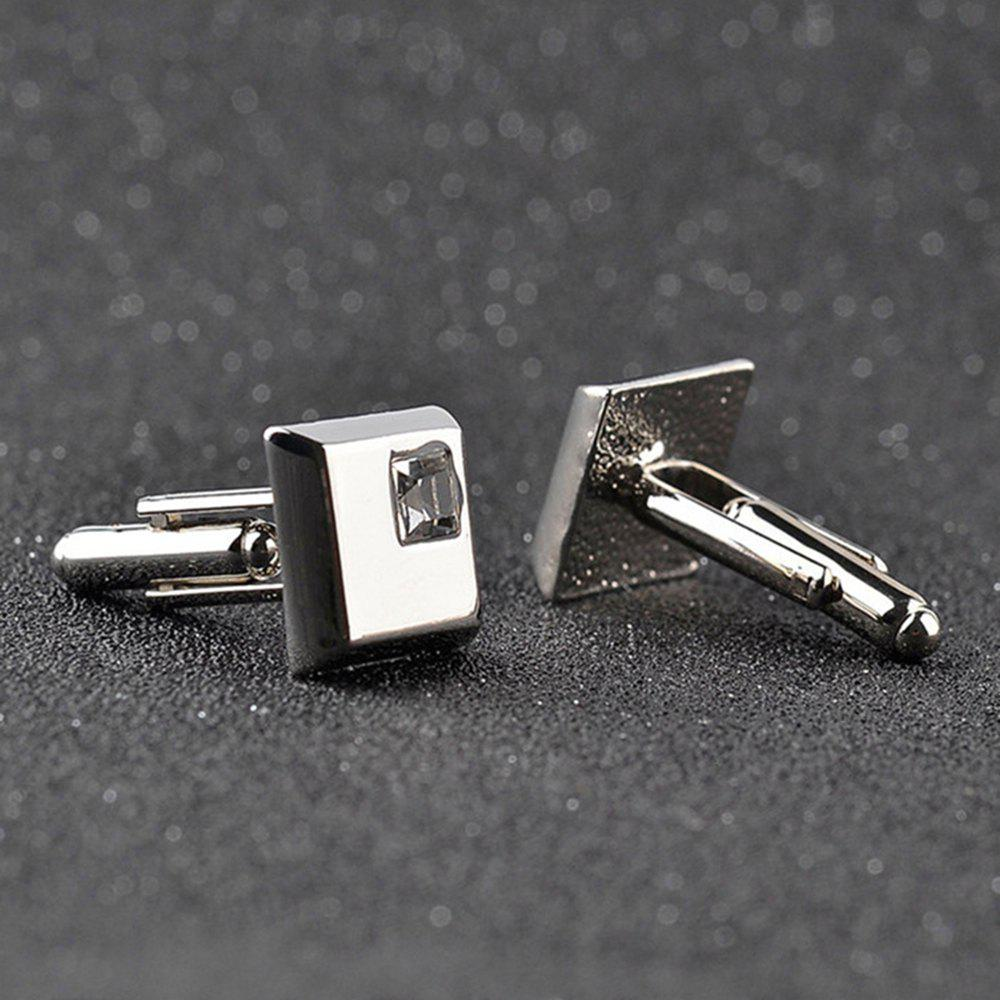 Men's Cufflinks Synthetic Quartz Exquisite Sleeve Cuff Buttons Accessory - SILVER