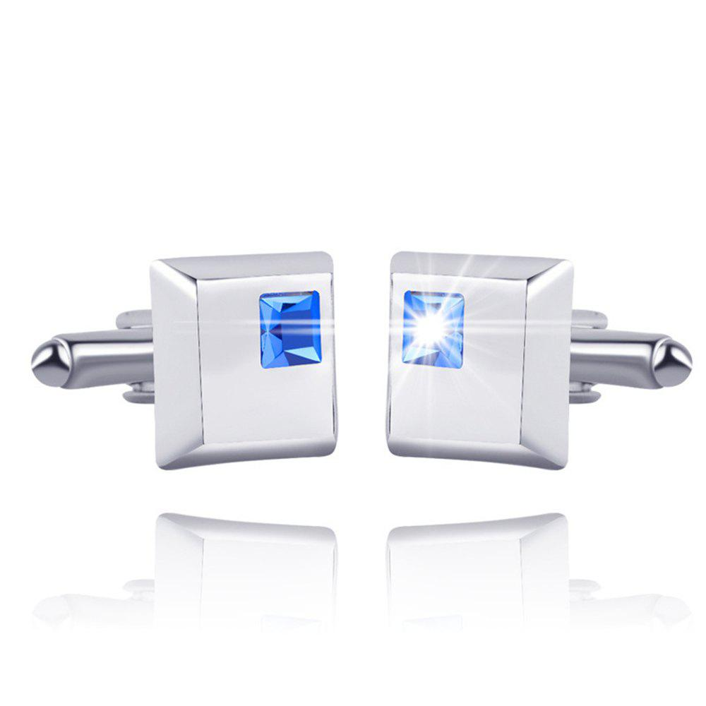 Men's Cufflinks Synthetic Quartz Exquisite Sleeve Cuff Buttons Accessory - BLUE