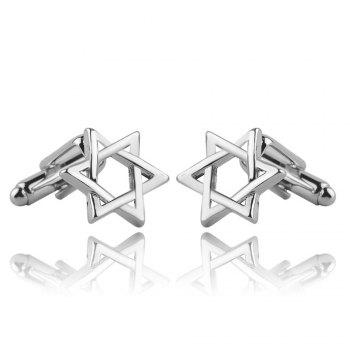 Men's Cufflinks Six Star Styling Solid Color Elegant Cuff Buttons Accessory - SILVER SILVER