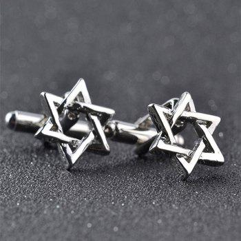 Men's Cufflinks Six Star Styling Solid Color Elegant Cuff Buttons Accessory -  SILVER
