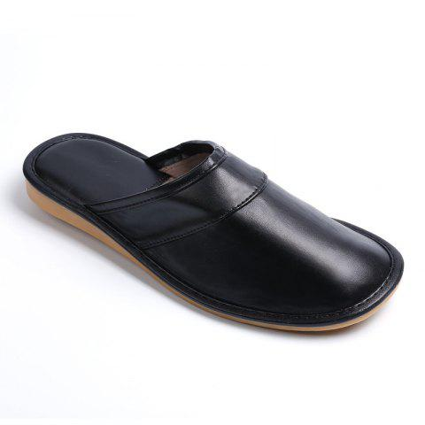Autumn and Winter Male and Female Skin Cotton Tow Lovers Style Slippers - BLACK SIZE(42-43)