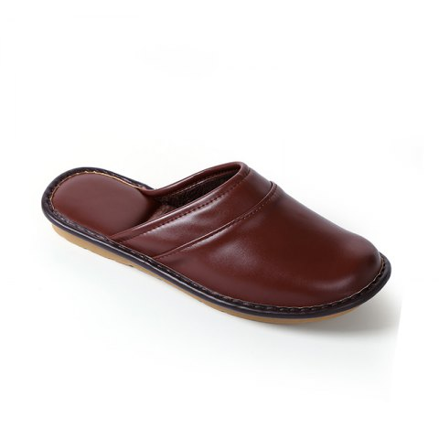 Autumn and Winter Male and Female Skin Cotton Tow Lovers Style Slippers - DEEP BROWN SIZE(36-37)