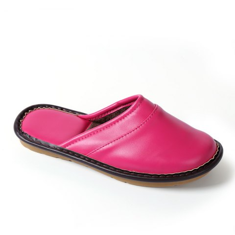 Autumn and Winter Male and Female Skin Cotton Tow Lovers Style Slippers - PEACH RED SIZE(40-41)