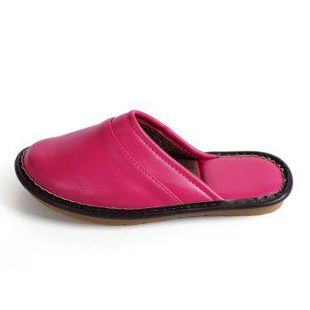 Autumn and Winter Male and Female Skin Cotton Tow Lovers Style Slippers - PEACH RED PEACH RED