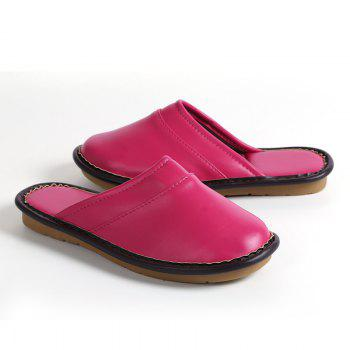 Autumn and Winter Male and Female Skin Cotton Tow Lovers Style Slippers - PEACH RED SIZE(42-43)