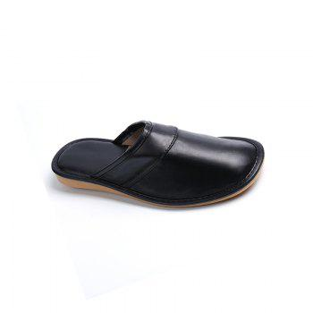 Autumn and Winter Male and Female Skin Cotton Tow Lovers Style Slippers - BLACK SIZE(40-41)