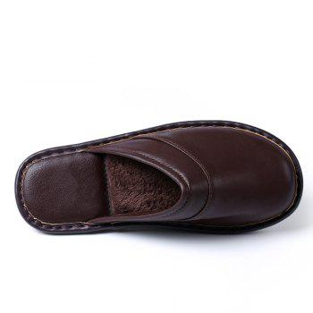 Autumn and Winter Male and Female Skin Cotton Tow Lovers Style Slippers - DEEP BROWN SIZE(40-41)
