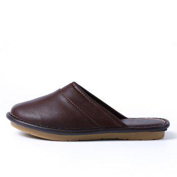 Autumn and Winter Male and Female Skin Cotton Tow Lovers Style Slippers - DEEP BROWN DEEP BROWN