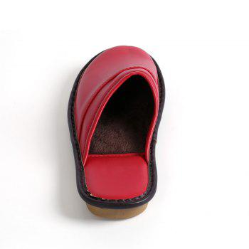 Autumn and Winter Male and Female Skin Cotton Tow Lovers Style Slippers - RED SIZE(36-37)