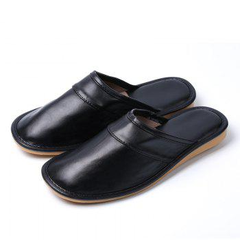 Autumn and Winter Male and Female Skin Cotton Tow Lovers Style Slippers - BLACK BLACK