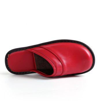 Autumn and Winter Male and Female Skin Cotton Tow Lovers Style Slippers - RED RED