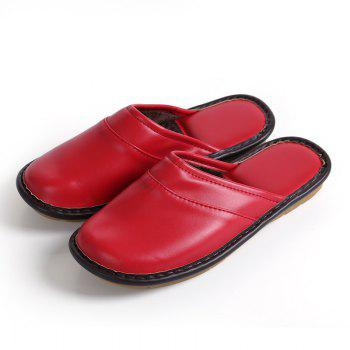 Autumn and Winter Male and Female Skin Cotton Tow Lovers Style Slippers - RED SIZE(40-41)