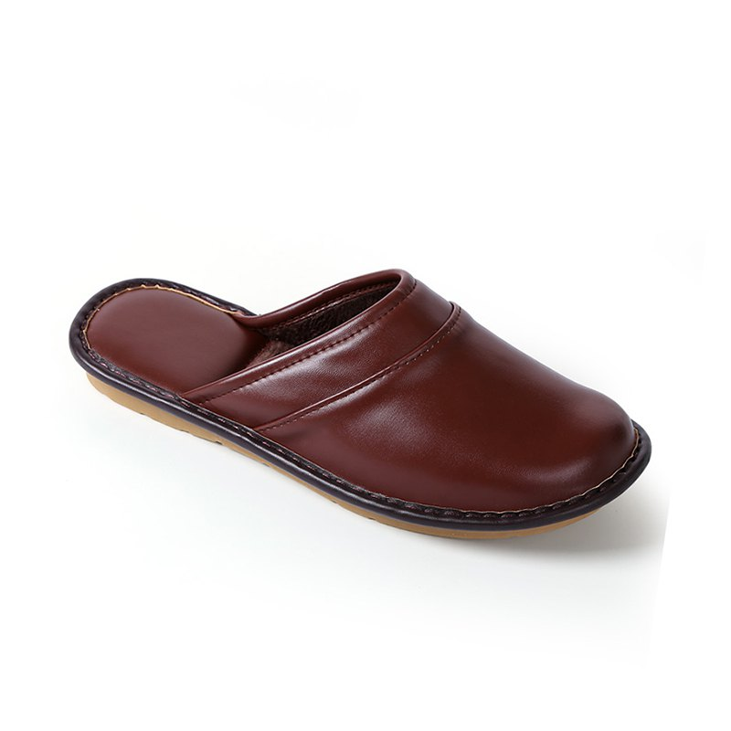 Autumn and Winter Male and Female Skin Cotton Tow Lovers Style Slippers - DEEP BROWN SIZE(42-43)