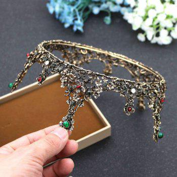 Vintage Women Baroque Crown Wedding Tiara Bridal Hair Jewelry Alloy - GOLDEN