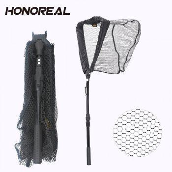 Filet HONROEAL 95cm Aluminium Polonais Imperméable en Caoutchouc Filet d'atterrissage - Noir
