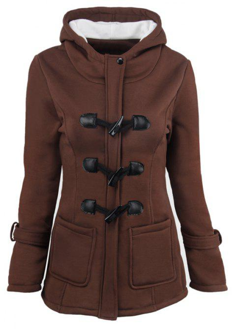Medium Long Style Korean Style Hooded Coat - DARK COFFEE XL