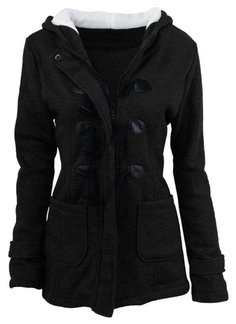 Medium Long Style Korean Style Hooded Coat - BLACK XL