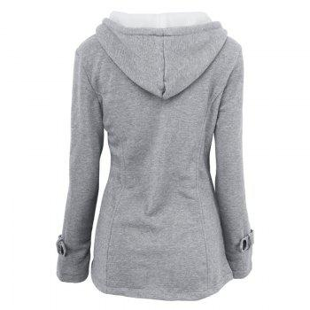 Medium Long Style Korean Style Hooded Coat - LIGHT GRAY M