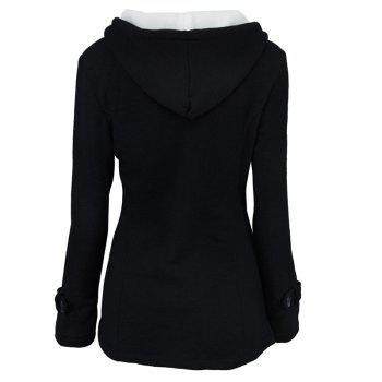 Medium Long Style Korean Style Hooded Coat - BLACK BLACK