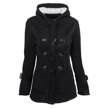 Medium Long Style Korean Style Hooded Coat - BLACK M